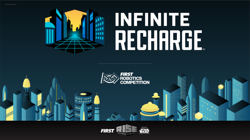 FIRST Robotics Competition INFINITE RECHARGE Lockup Images, the competition logo over a futuristic cityscape.