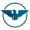 military and civil service robot wings icon