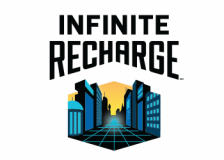 FIRST FRC 2020 Logo - Infinite Recharge - a city street with a grid on the roadway.