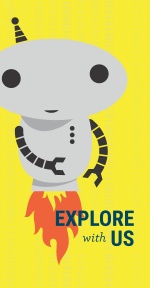 Orli (our little robot icon) flying over a yellow field of binary text invites you to explore robotics.